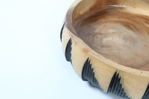 Natural and Black Carved Wooden Feature Bowl
