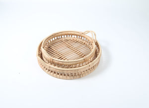 Natural Rattan and Bamboo Serving Tray