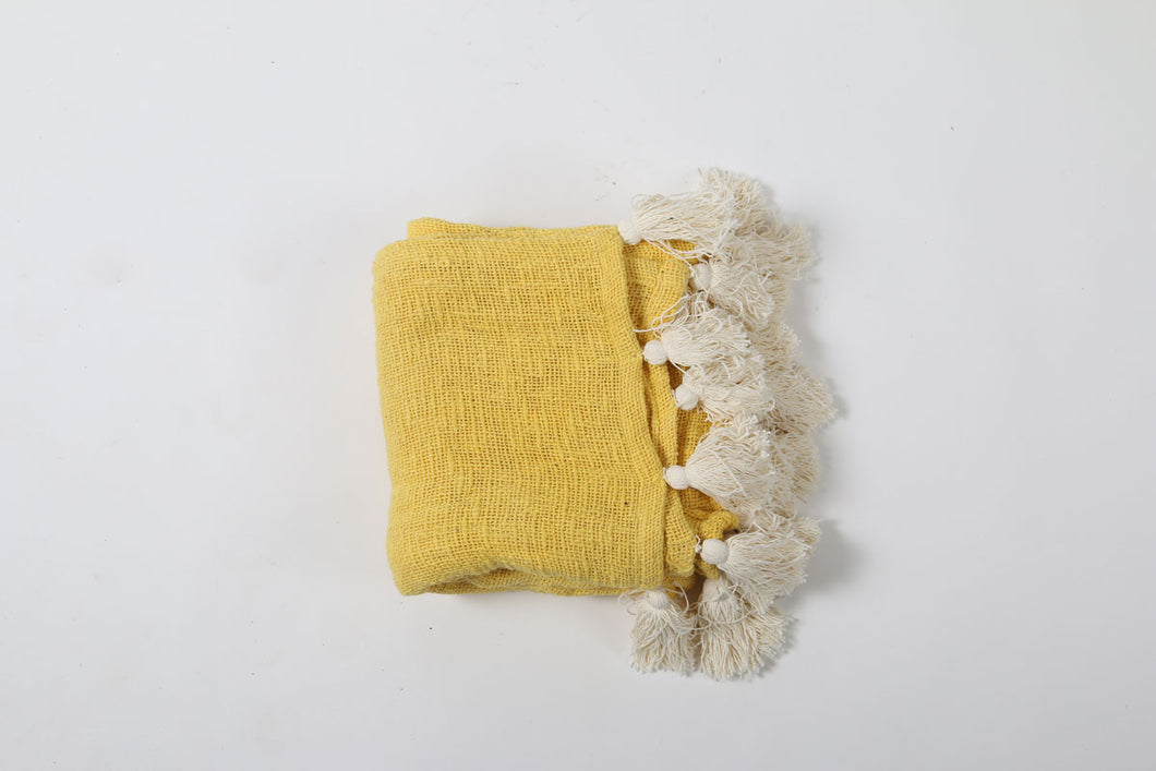 Mustard Cotton Textured Throw with Cream Tassels