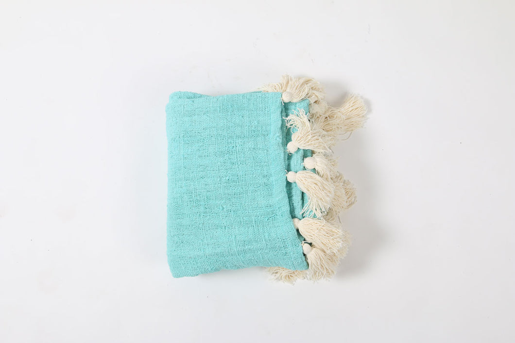 Turquoise Cotton Throw with Cream Tassels