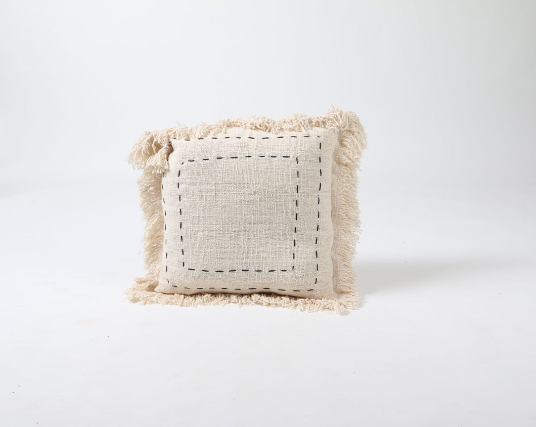 Natural Fringed Cotton Cushion Cover with Black Stitched Square Pattern