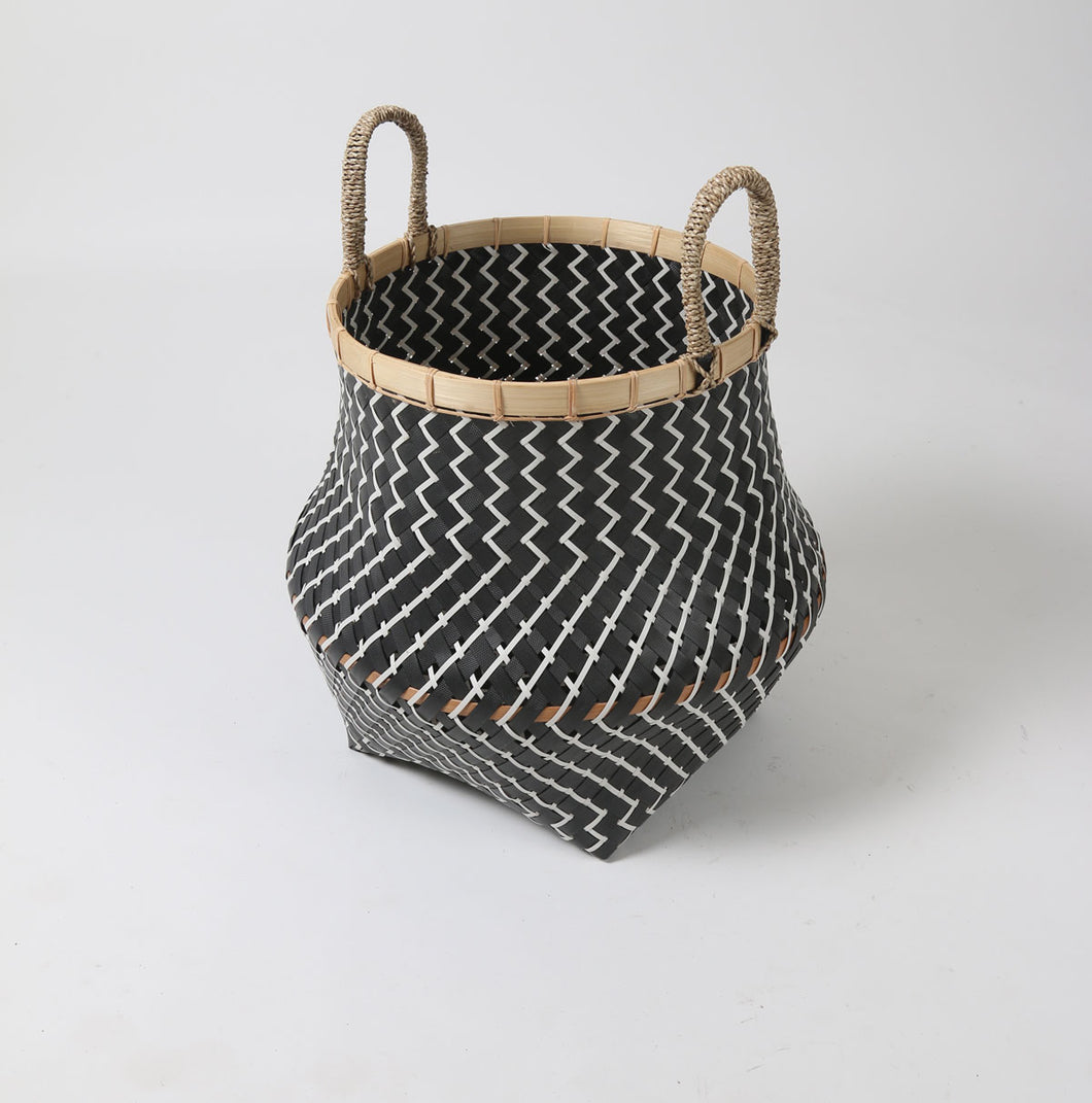 Black and White Zig Zag Patterned Bamboo Lipped Plastic Basket with Rope Handles
