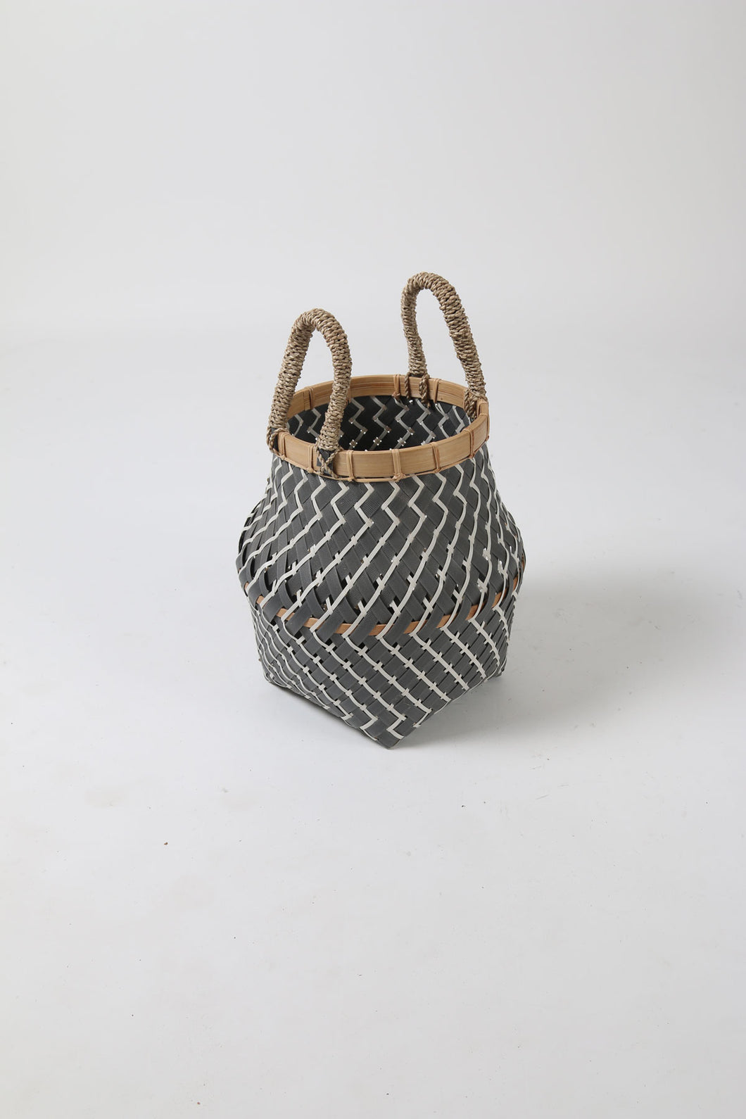 White and Grey Curved Plastic and Bamboo Lipped Basket with Rope Handles