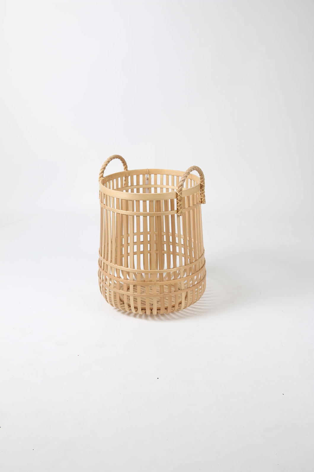 Bamboo Basket with Rope Handles