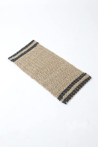 Hand Woven Jute and Recyled Plastic Doormat - Dark Blue/Natural