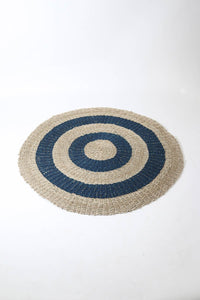 Circular Patterned Natural Jute and Navy Mat/Floor Rug