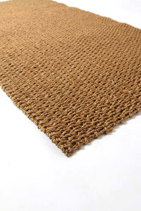 Hand Woven Recycled Plastic Floor Mat - Golden Brown