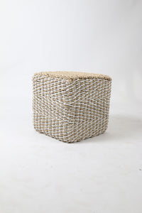 White and Natural Woven Padded Jute Stool/Sidetable
