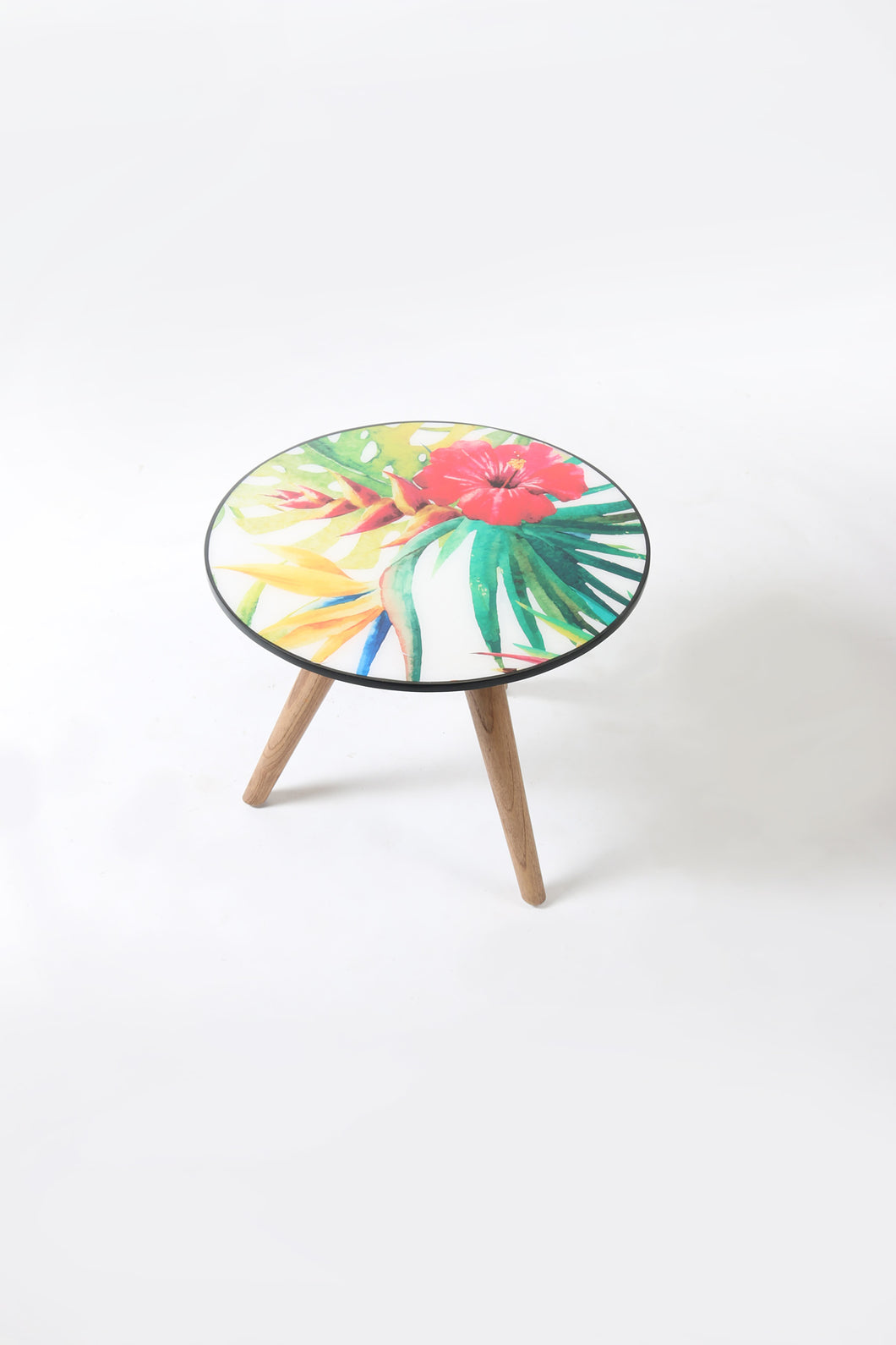 Hibiscus Wood and Resin Coffee Table with Three Legs