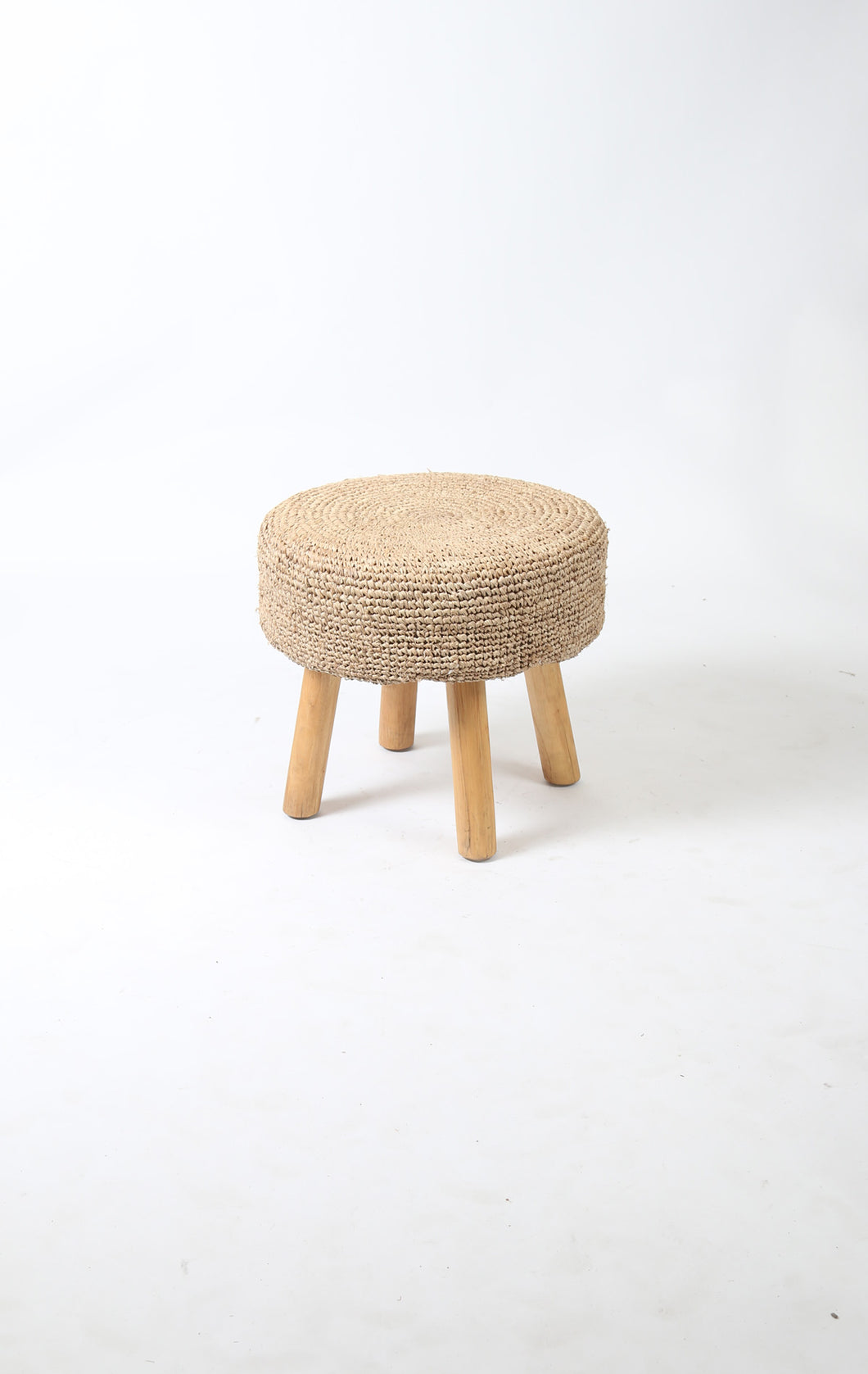 Padded Sea Grass Stool with Four Wooden Teak Legs