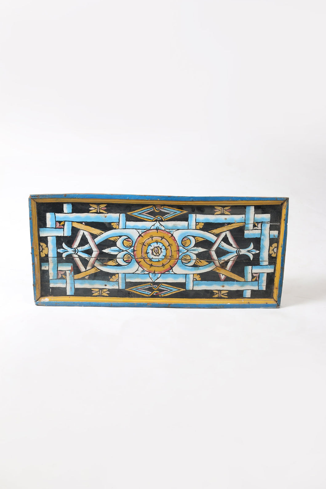Hand Painted Art Panel Turquoise and Gold on Black Background