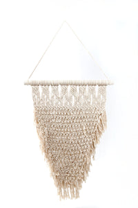 Natural Macrame Cream Wall Hanging with Crocheted Pattern