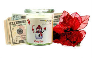 Candy Cane Cash Candle