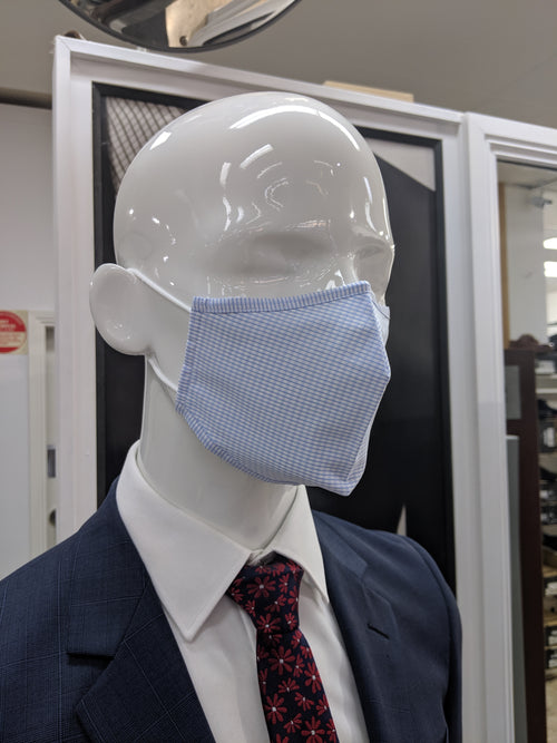 Blue Check Re-Usable 100% Cotton Masks