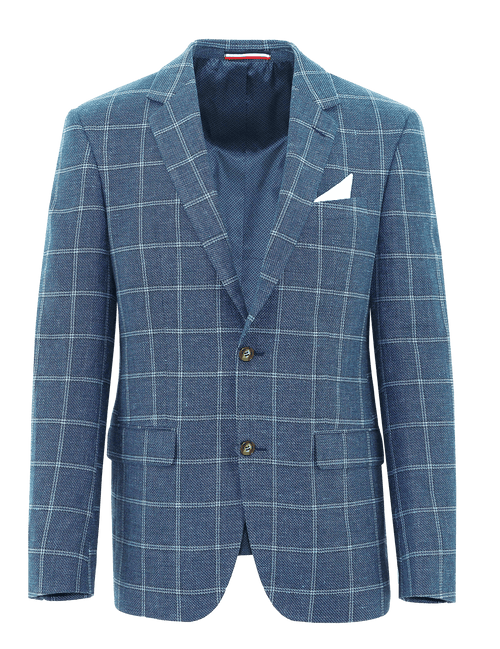 Shape Blue Windowpane Linen Sports Jacket - 100
