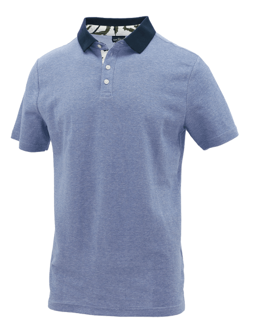Blue Block Cotton Polo