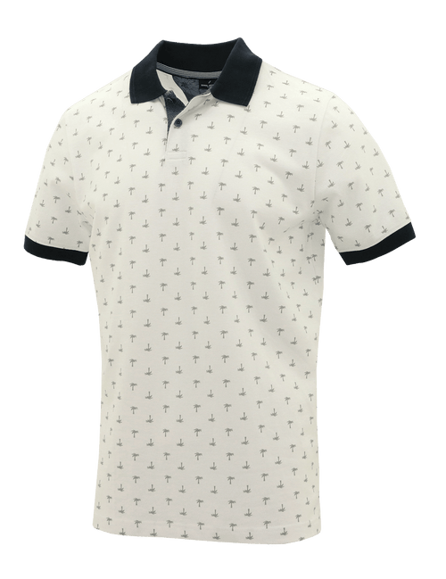 White Palm Cotton Polo - 3XL