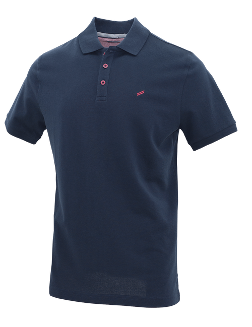 Navy Ribbed Cotton Polo