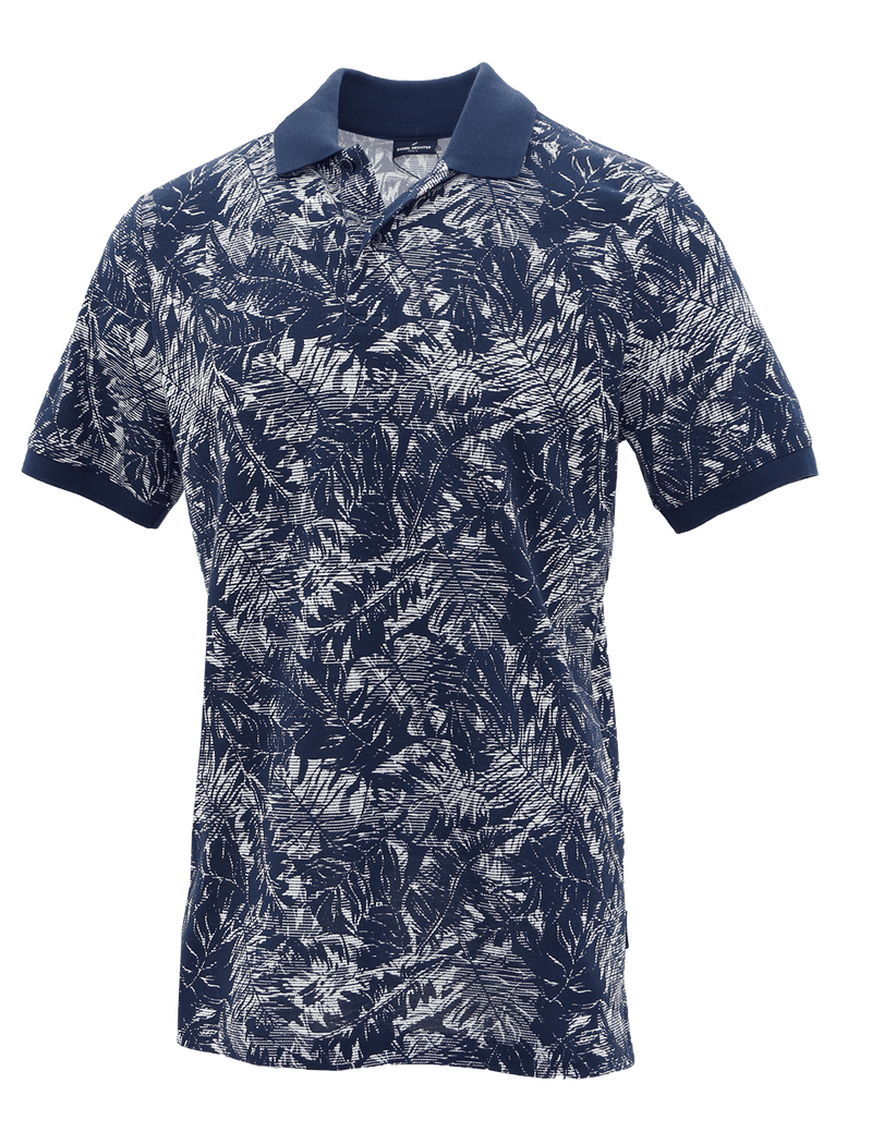 Blue Frond Cotton Polo