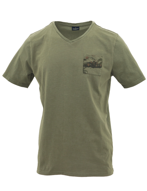 V-Neck Green Forest Cotton T-Shirt - M