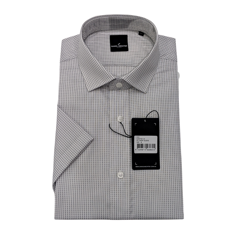 Sel Short Sleeve Grey Micro Check Shirt