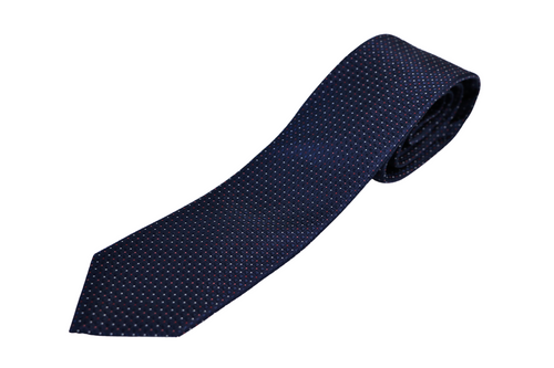 Navy Red Dot Silk Tie
