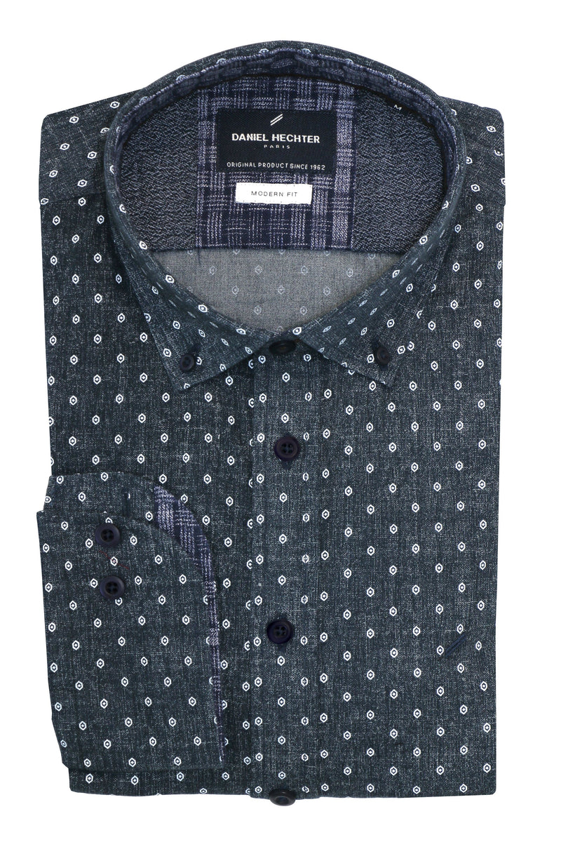 Modern Grey Dot Shirt - S, 3XL