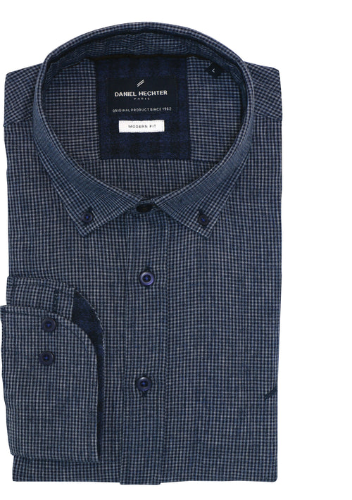 Navy Grid Check Shirt - S, M