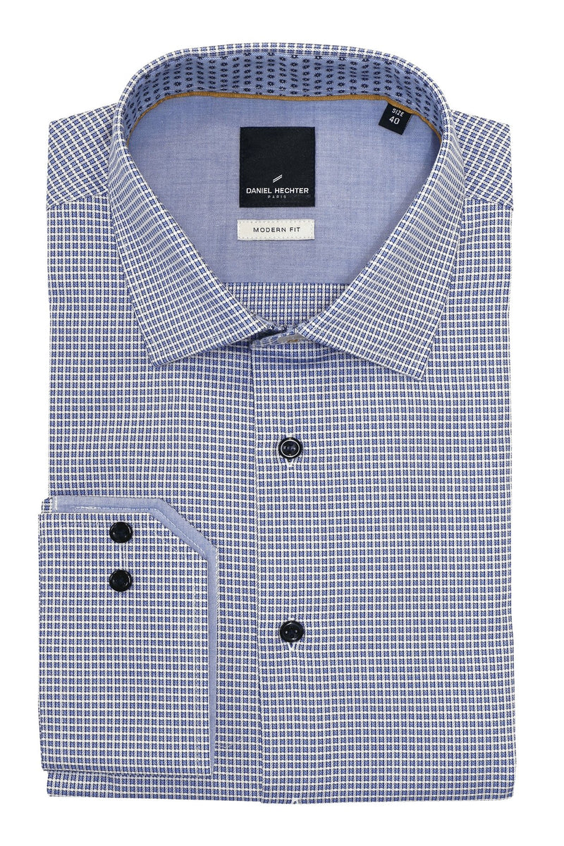 Shape Blue Layered Check Shirt - 44