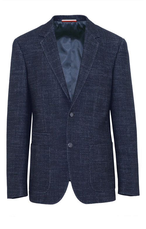 Prague Navy Textured Sports Jacket - 100