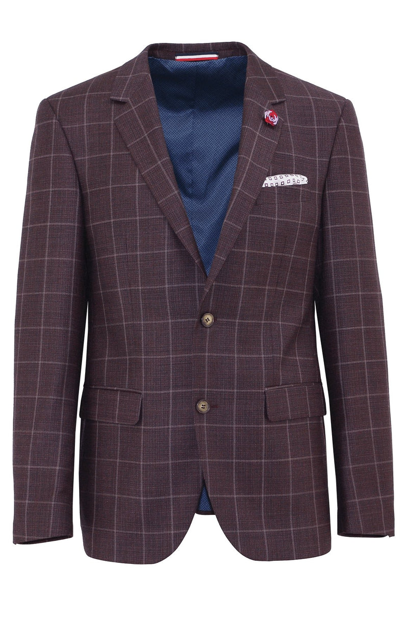 Shape Plum Windowpane Wool Sports Jacket
