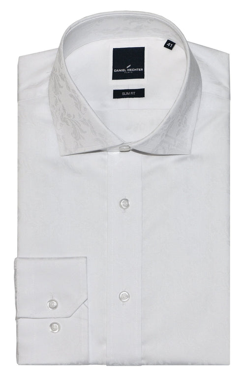 Jacque Business White Print Collar Shirt