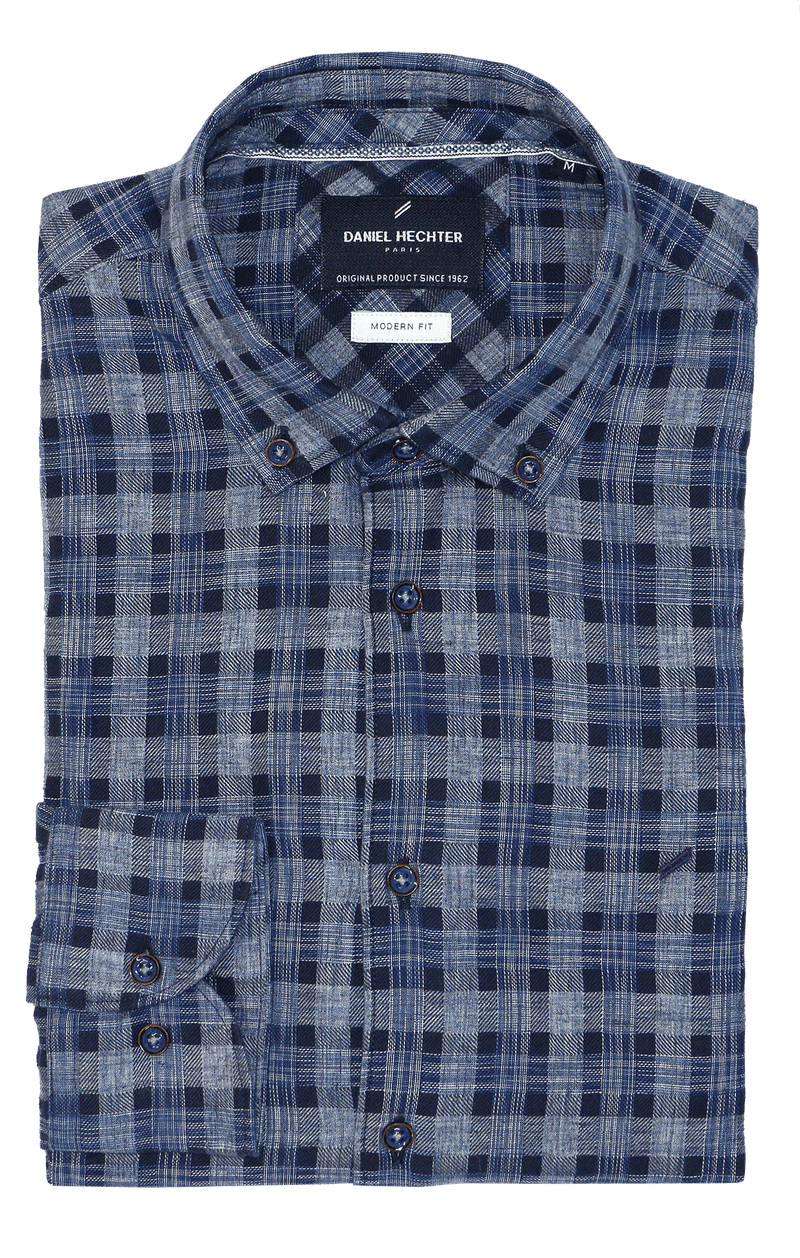 Modern Blue Plaid Casual Shirt