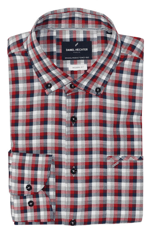Modern Red Check Casual Shirt - S