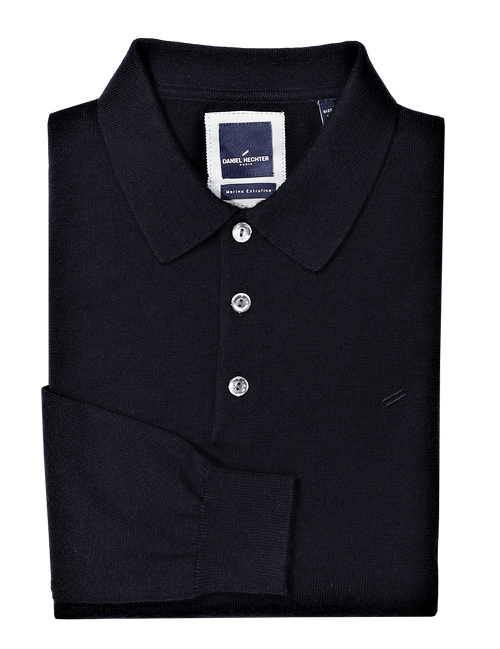 Navy Knit Wool Polo