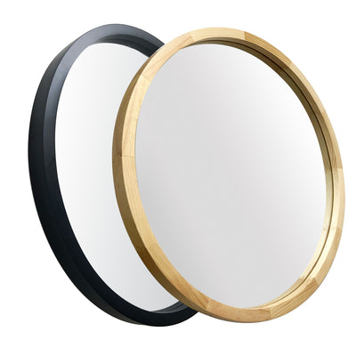 JIYUERLTD Round Mirrors 24inch Wall Mirrors Decorative Wood Frame Morden Mirrors for Bathroom Entryways Living Rooms and More.