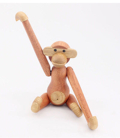 Wooden Monkey,Wood Carving Monkey,Wood Animal Birthday Present,Puppet,Wood Gift