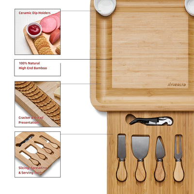 JIYUERLTD Cheese Board with Knives and Opener Bamboo Cutting Board, Cheese Services, Platter for Wine, Cheese, Meat.13.4x13.4x1.5 inch.