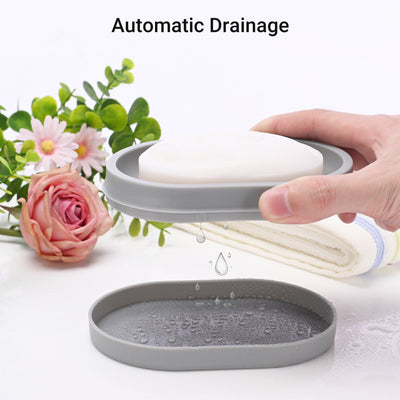 2Pack Soap Dish, Soap Bar Holder with Drainage Design,Easy Cleaning Soap Box for Home Hotel and More