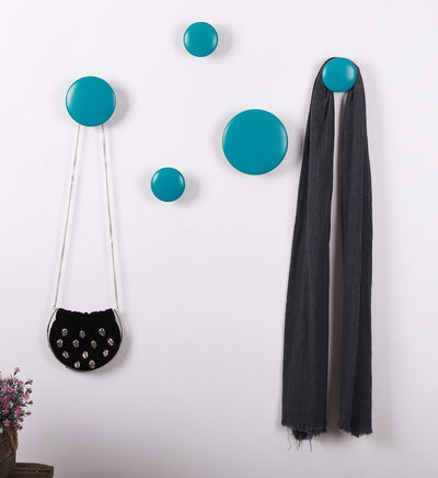 Wall Hooks Coat Hooks 5Pcs Dots Hook Door Hanger Hook for Home Decor(White)