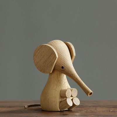 Wood Elephant,Wood Carving Elephant,Wood Animal Birthday Present,Puppet,Wood Gift