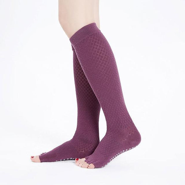 1 Pair Breathable Open Five Toe High Knee Long Stockings Yoga Socks - Yoga Socks - Chakra Galaxy
