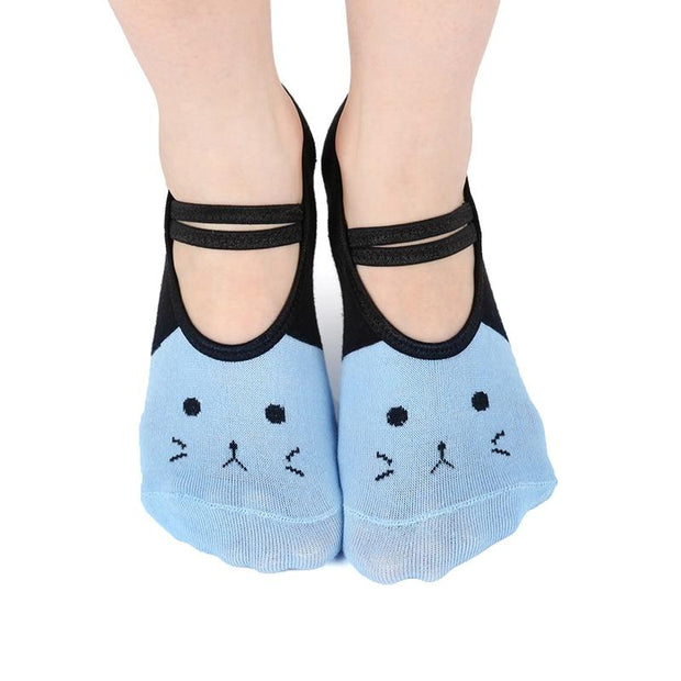 1 Pair Cat Design Print Breathable Non-Slip Backless Silicone Yoga Pilates Socks - Yoga Socks - Chakra Galaxy