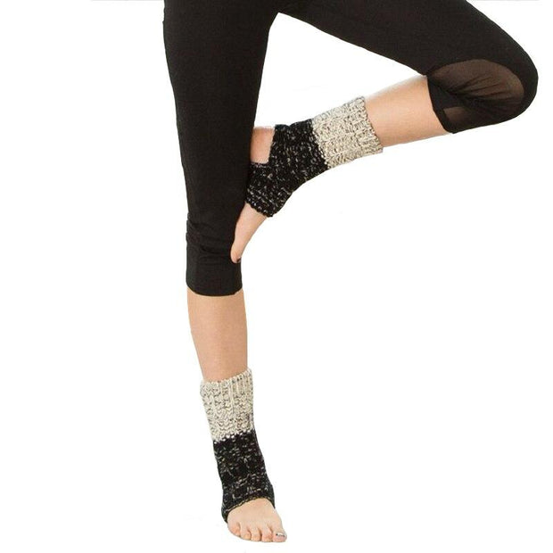 1 Pair Two-Toned Ladies Knitted Calf Leg Warmer Indoor Pilates Yoga Socks - Yoga Socks - Chakra Galaxy
