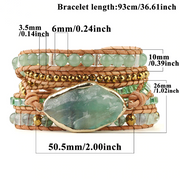 Natural Green Fluorite Aventurine Bead Leather Wrap Chakra Bracelet