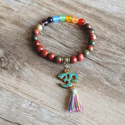 7 Chakra Bracelet with Tassel OM Symbol & Authentic Tibetan Beads - Charm Bracelets - Chakra Galaxy