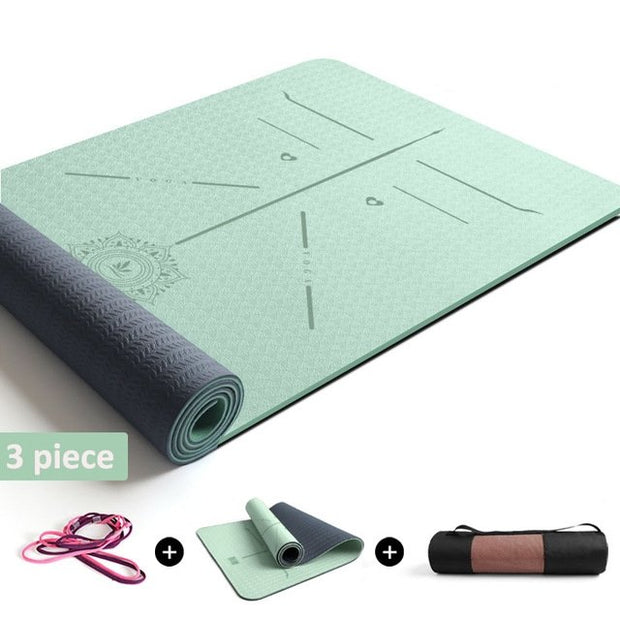 7 Colors Lotus Mandala Yoga Mat With Position Line TPE Pilates - Yoga Mats - Chakra Galaxy