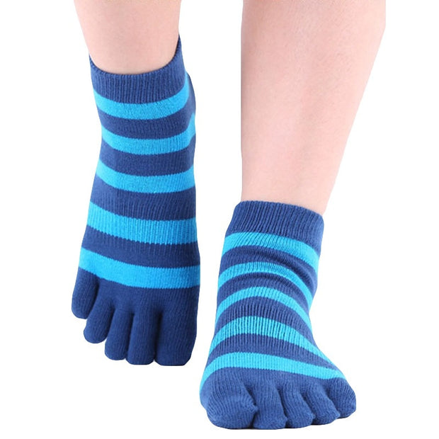 3 Pairs Anti-Skid Silicone Grip Breathable Stripe Design Yoga Socks