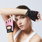 Amaranth Pink Ultralight Polyester Half-Finger Yoga Workout Gloves - Yoga Gloves - Chakra Galaxy
