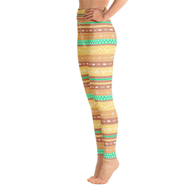 Astonishing Brown & Yellow High Waist Bohemian Pattern Yoga Leggings - Yoga Leggings - Chakra Galaxy